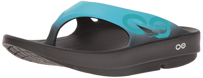 OOFOS - Unisex OOriginal Sport - Post Run Recovery Thong Sandal - Black/Aqua - M10/W12