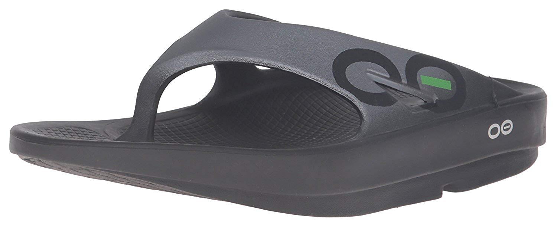OOFOS - Unisex OOriginal Sport - Post Run Recovery Thong Sandal - Black/Graphite - M6/W8