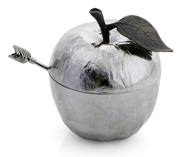 Michael Aram Apple Honey Pot With Spoon Nickelplate - 110780