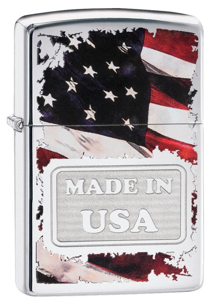 Zippo American Flag Made in USA High Polish Chrome Lighter 29679