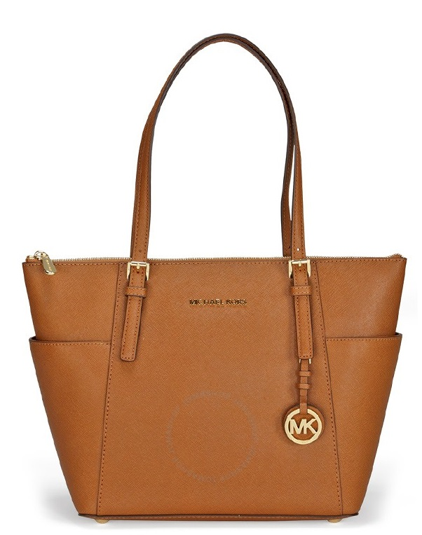 Michael Kors Jet Set Top-Zip Saffiano Leather - Tote - Acorn - 30F2GTTT8L-532
