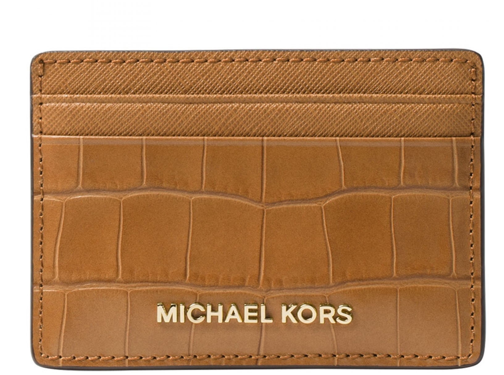 Michael Kors Money Pieces Crocodile-effect Leather - Card Holder - Acorn - 32F7GF6D0E-532