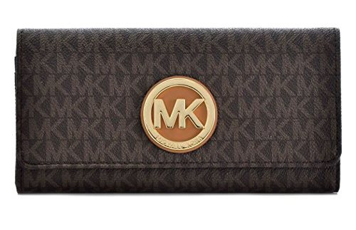 Michael Kors PVC Leather Fulton Flap Continental Wallet - Brown - 32S7GFTE3B-200