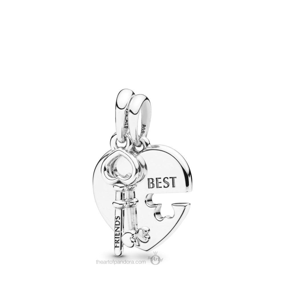 PANDORA Best Friends Heart & Key Necklace Pendant - 398130