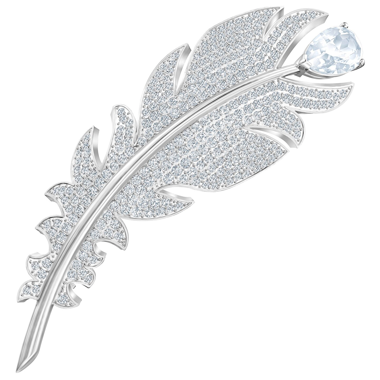 Swarovski Nice Brooch - White - Rhodium Plated - 5495417