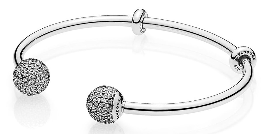 Pandora Moments Silver Open Bangle with Pave Caps - 596438CZ-2