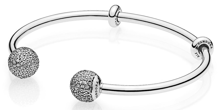 Pandora Moments Silver Open Bangle with Pave Caps - 596438CZ-3
