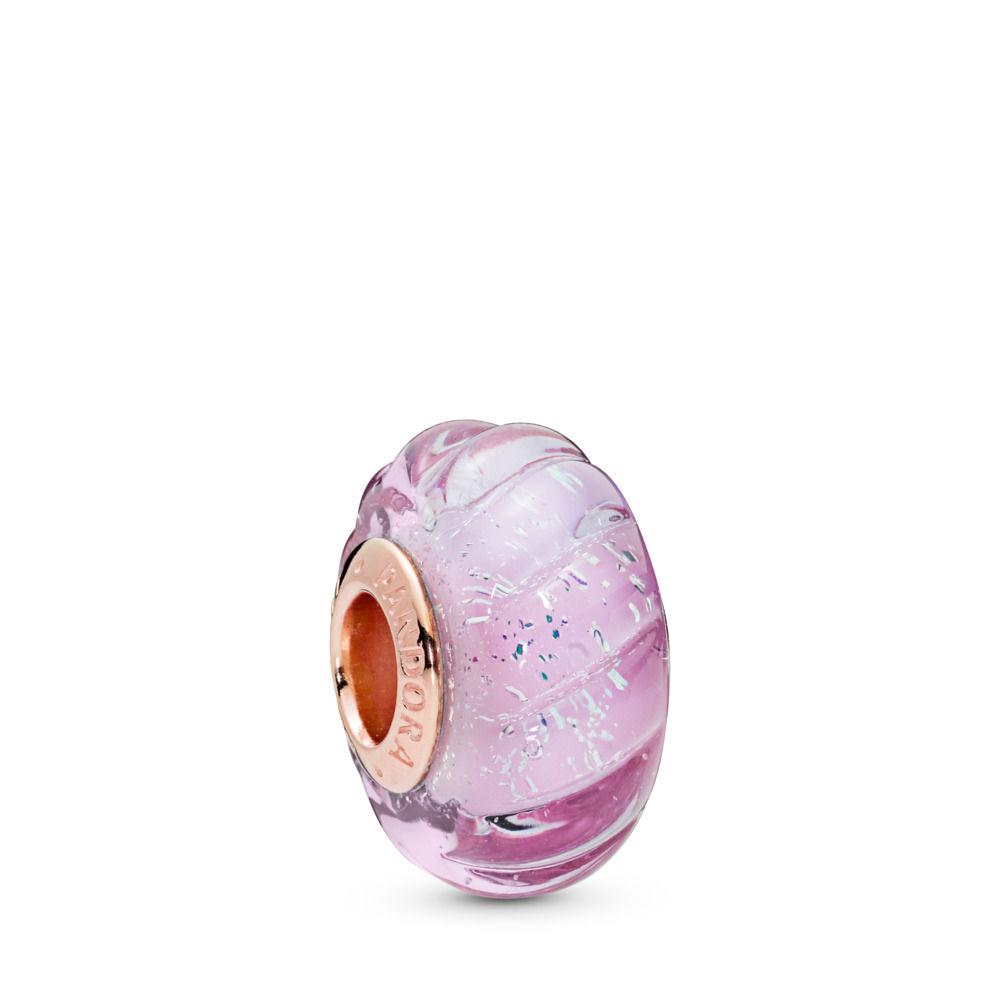 PANDORA Glittering Grooves Murano PANDORA Rose Charm - 788107