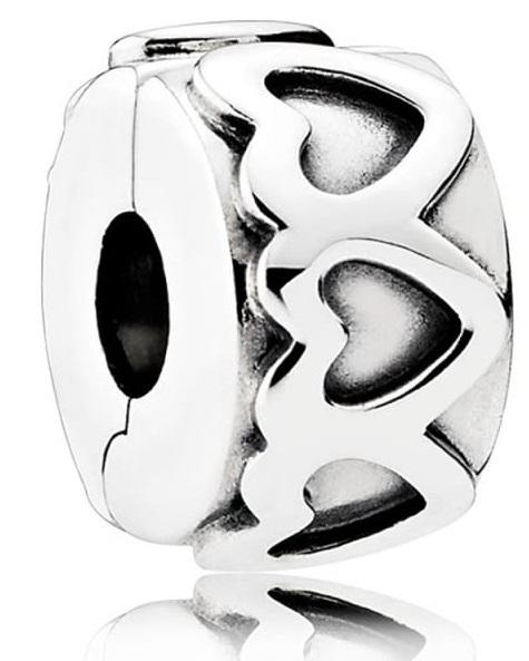 Pandora Row of Hearts Silver Charm - 791978