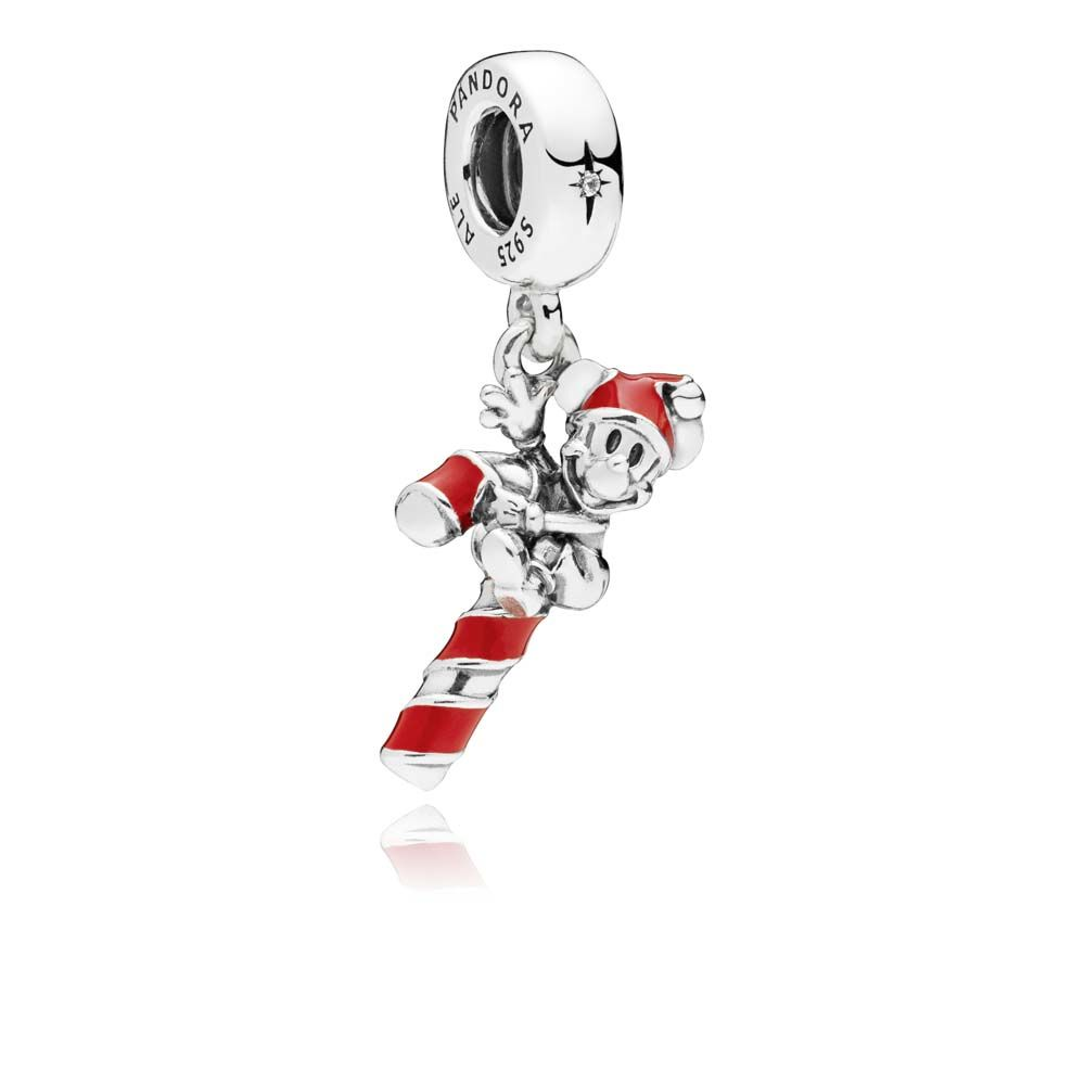 PANDORA Disney Santa Mickeys Candy Cane Dangle Charm