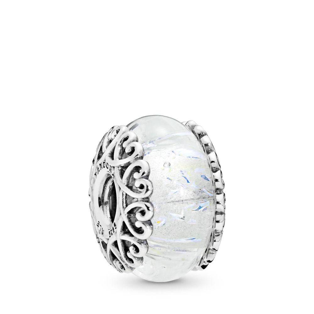 PANDORA Iridescent White Glass Charm - 797617