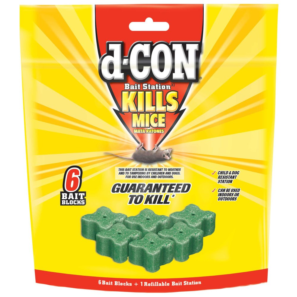 d-CON Refillable Corner Fit Mouse Poison Bait Station - 1 Trap + 6 Bait Refills