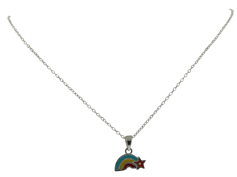Enamel Rainbow Pendant with Chain - JP1801