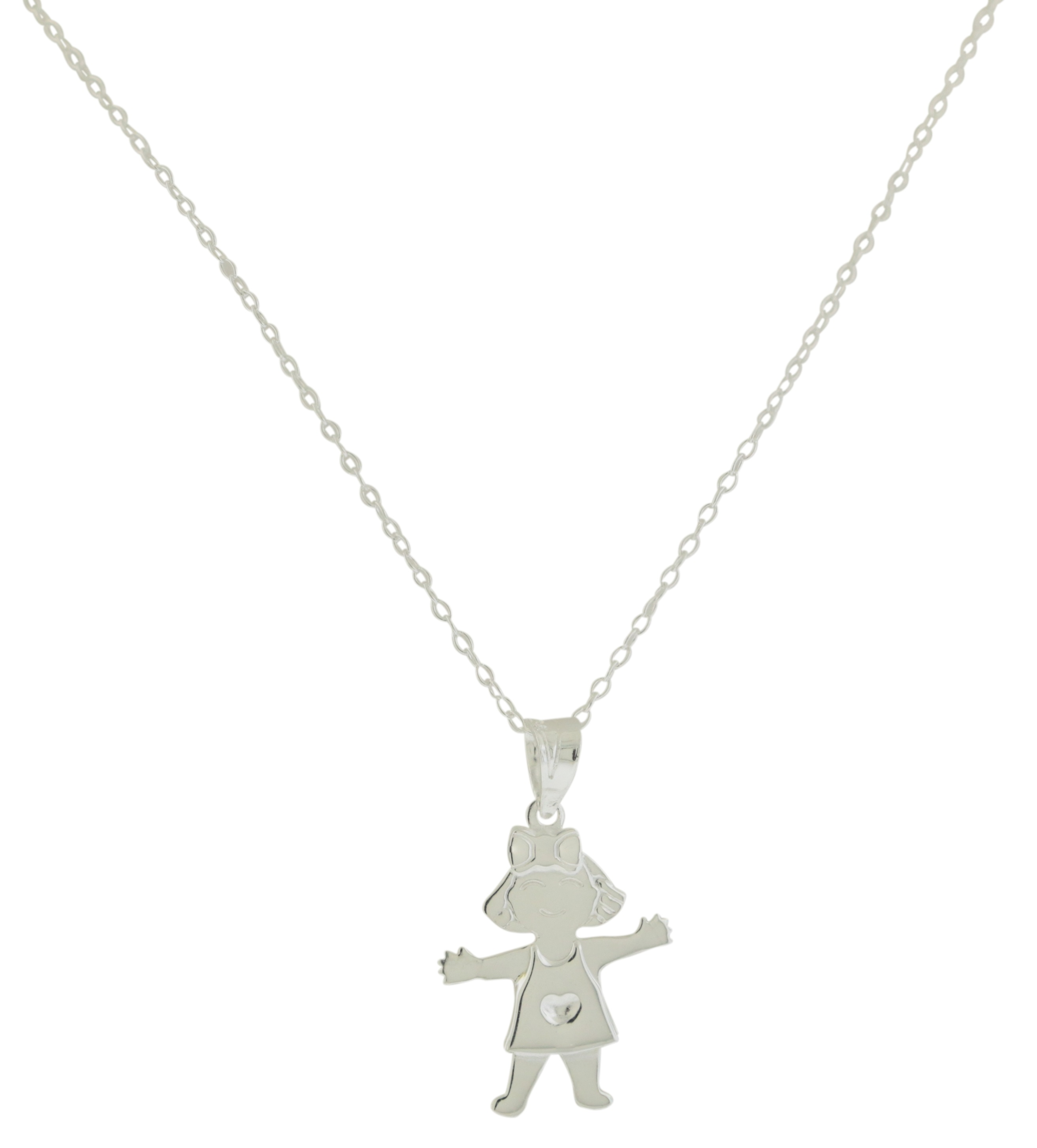 Sterling Silver Girl Pendant with - Chain JP1802