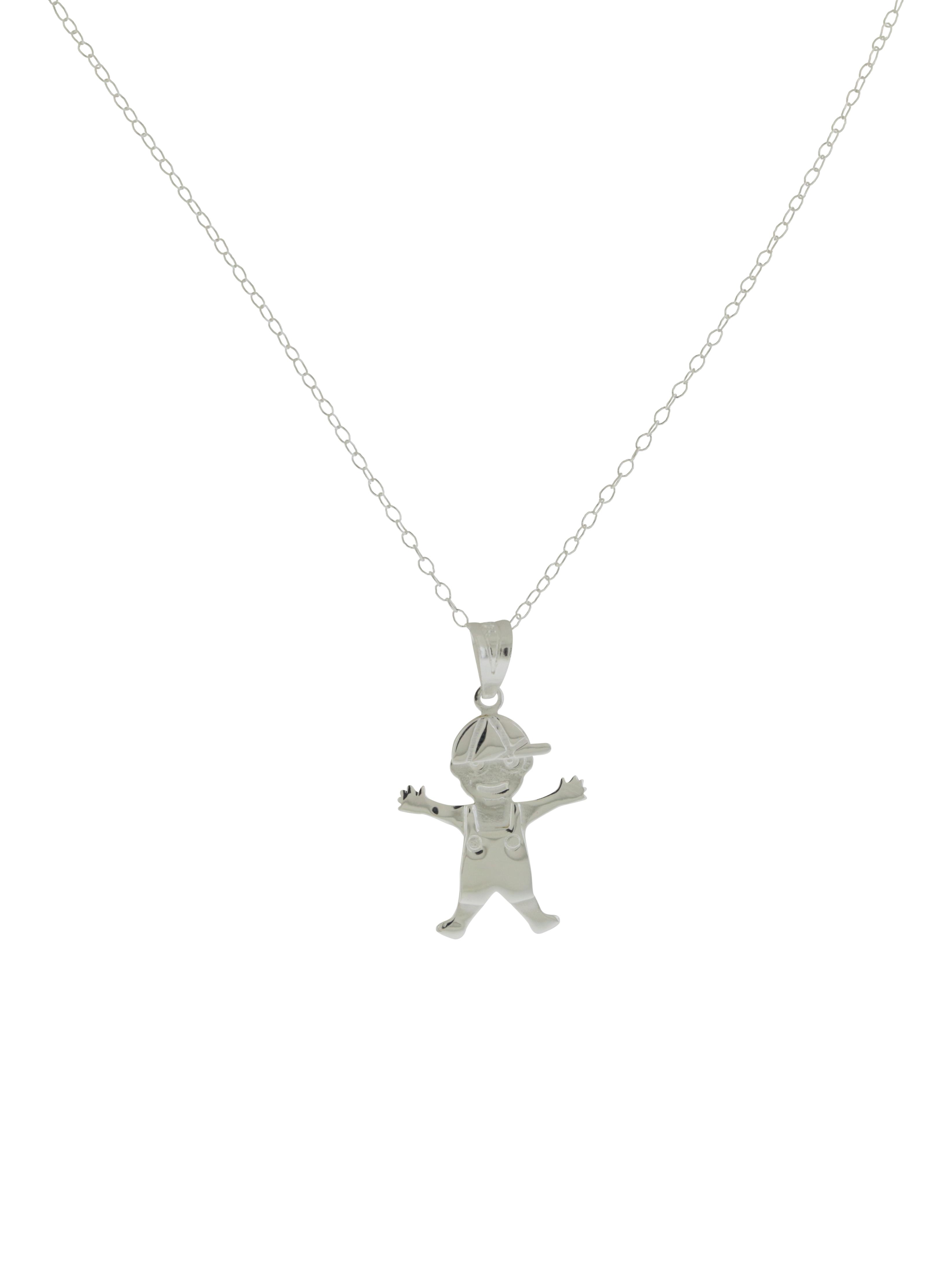 Sterling Silver Boy Pendant wih Chain - JP1803