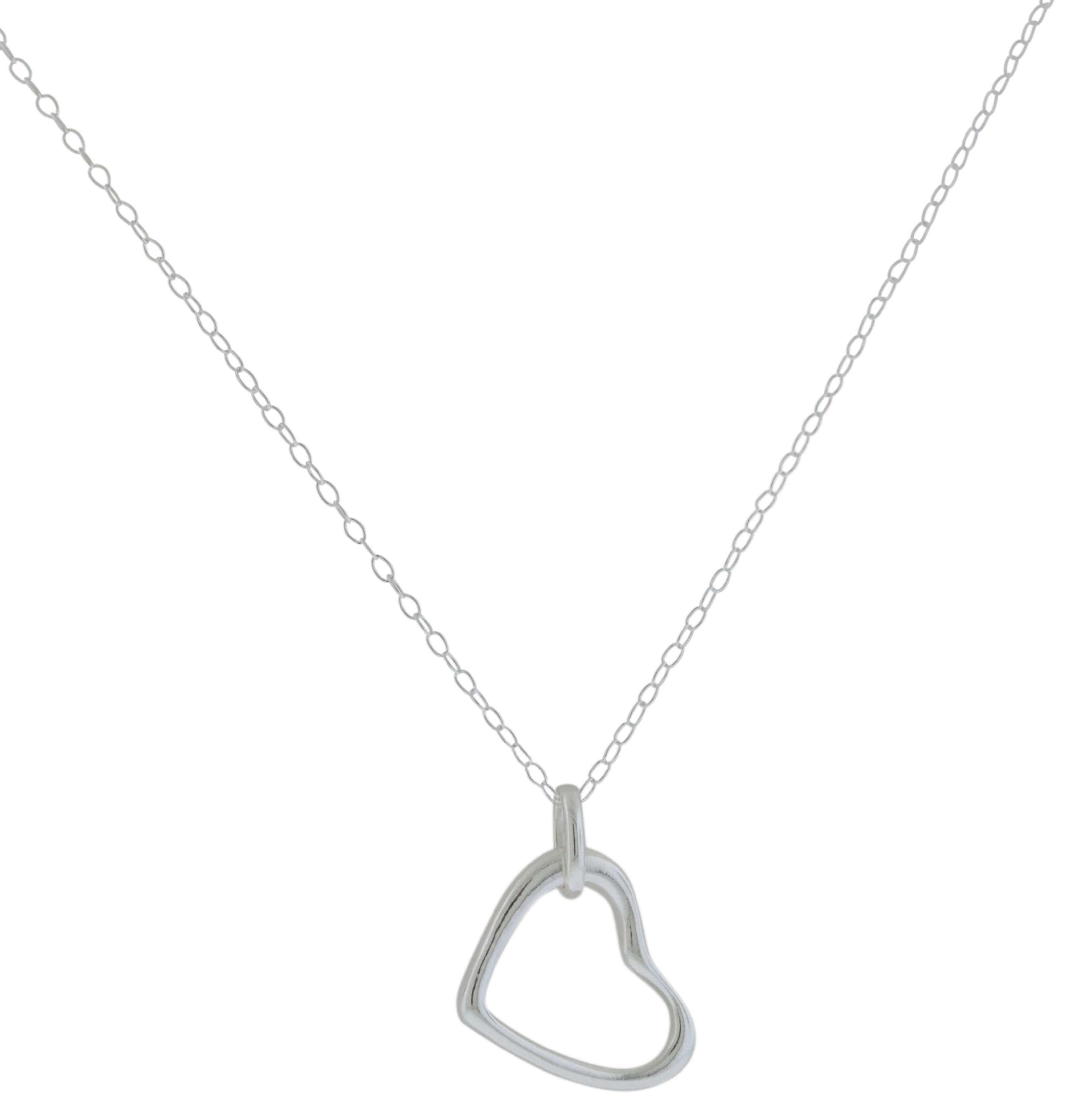 Sterling Silver Open Heart Pendant with Chain - JP1805