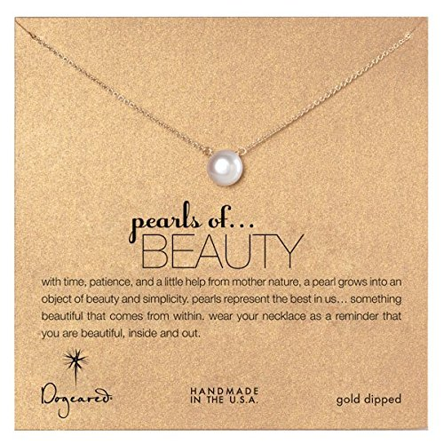 Dogeared Large Pearls of Beauty White Pearl Gold Dipped Necklace - P02009