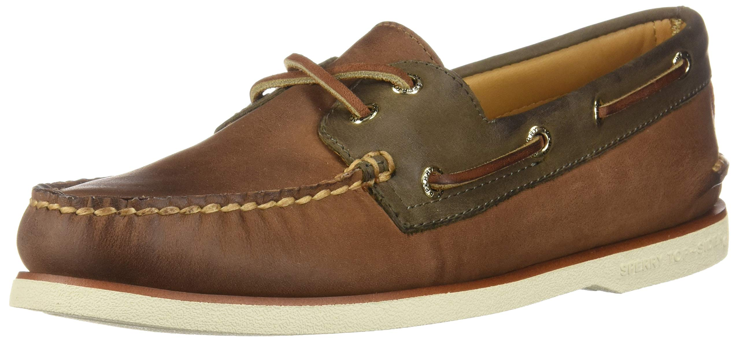 Sperry Mens Gold Cup Authentic Original Chevre Boat Shoe Brown/Olive 9.5 M