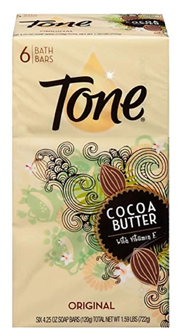 Tone Soap Bar Cocoa Butter - Original - 4.25-Ounce Bars - 6 Bars Per Pack (2 Packs)