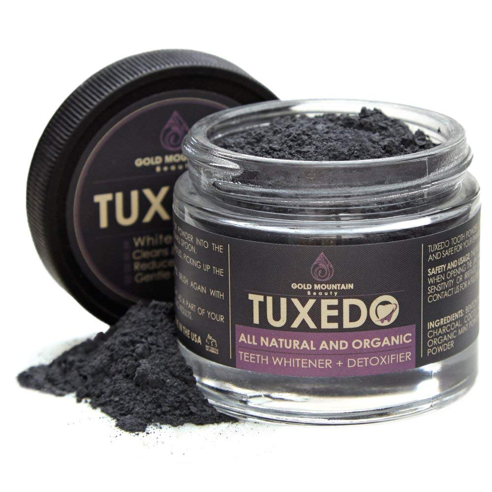 Tuxedo Teeth Whitening Activated Powder With Coconut Charcoal and Bentonite Clay