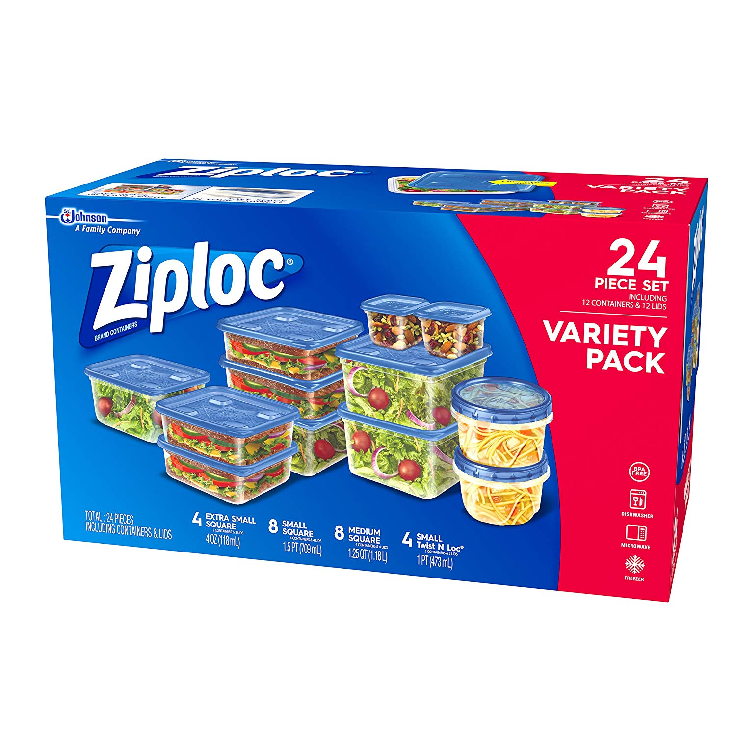 Ziploc Containers Variety Pack - 24 Count